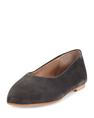 Pril Leather Ballerina Flat, Carbon
