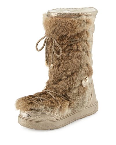 Laetitia Fur Lace-Up Boot, Beige