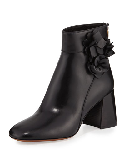 Blossom Leather 70mm Bootie, Black