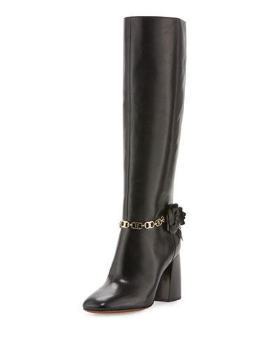 Blossom Leather 90mm Knee Boot, Black