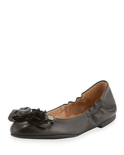 Blossom Leather Ballerina Flat, Black