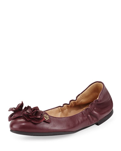 Blossom Leather Ballerina Flat, Port