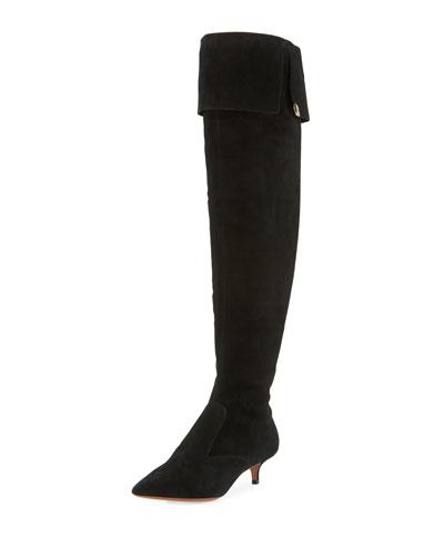 Elizabeth Suede Over-the-Knee Boot, Black