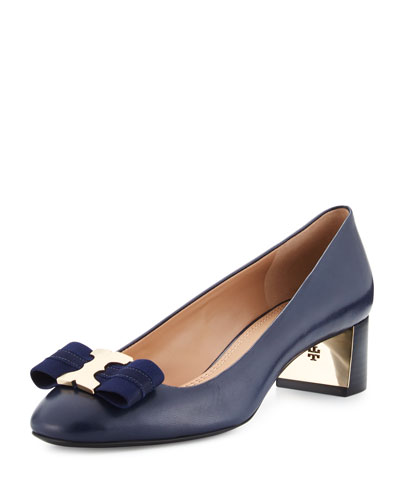 Gemini Link Bow Leather 50mm Pump, Royal Navy