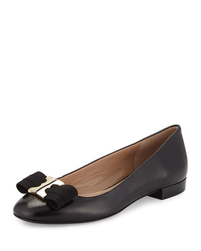 Gemini Bow Leather Flat, Black