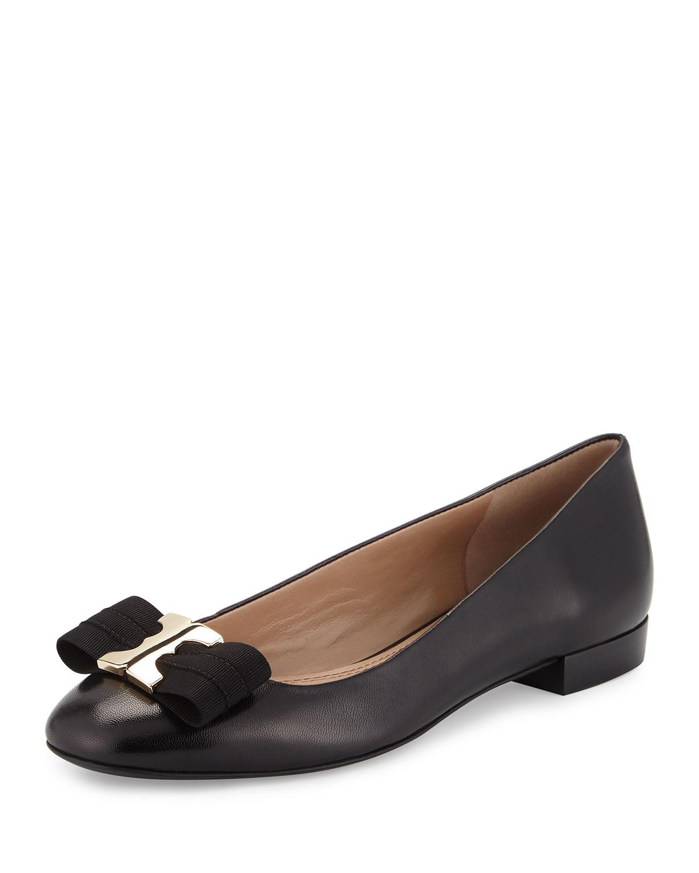Gemini Bow Leather Flat, Black