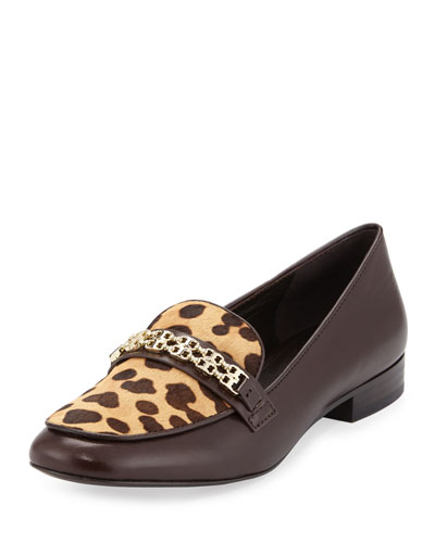 Gemini Link Calf-Hair Loafer, Coconut/Leopard