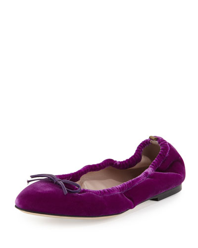 Gelsey Velvet Ballerina Flat, Fuxia