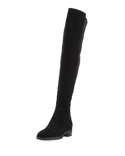 Caitlin Stretch Suede Over-the-Knee Boot, Black