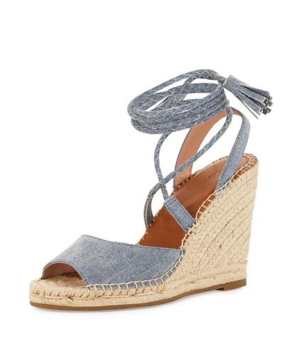 Phyllis Lace-Up Wedge Sandal, Denim