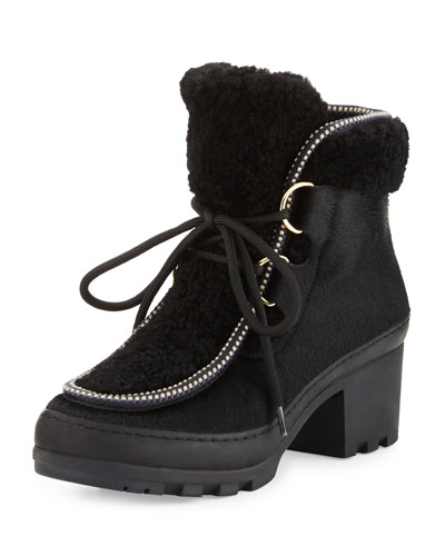Berkley Shearling-Trim Calf-Hair Bootie, Black