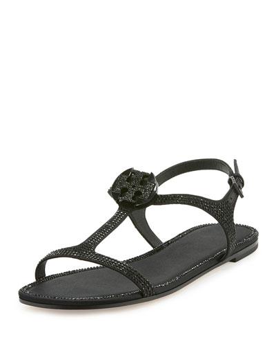 Dephine Crystal Logo Flat Sandal, Black