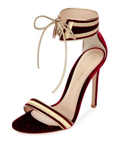 Augusta Velvet Ankle-Wrap Sandal, Granato/Glam