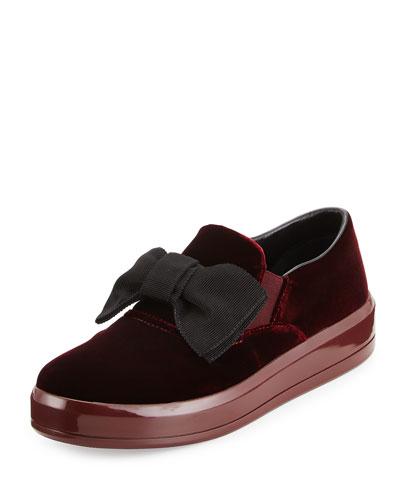 Bow Velvet Skate Sneaker, Maroon