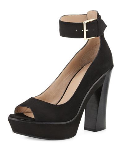 Luxe Platform Suede Sandal, Black