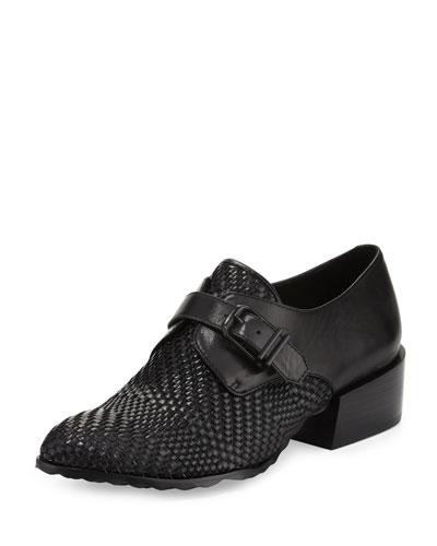 Hila Leather Monk-Strap Oxford, Black