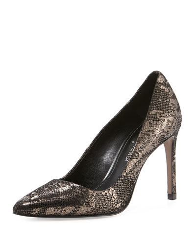 Phillo Metallic Snake-Embossed Leather Pump, Pewter