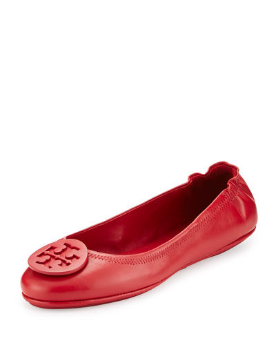 Minnie Travel Logo Ballerina Flat, Red Stone