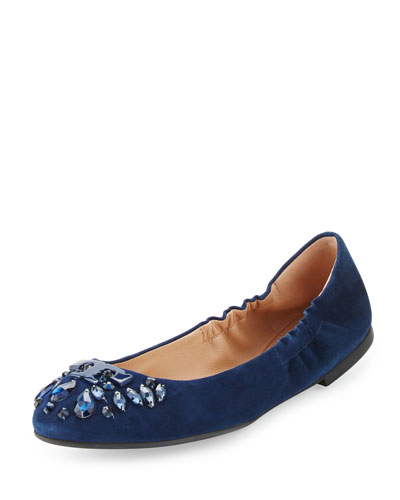 Delphine Crystal Logo Flat, Royal Navy