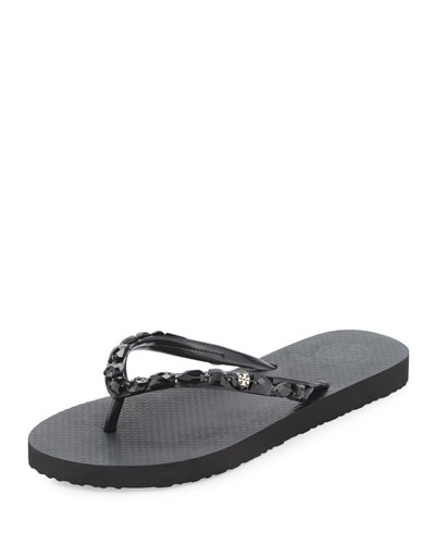 Jeweled Jelly Flat Thong Sandal, Black