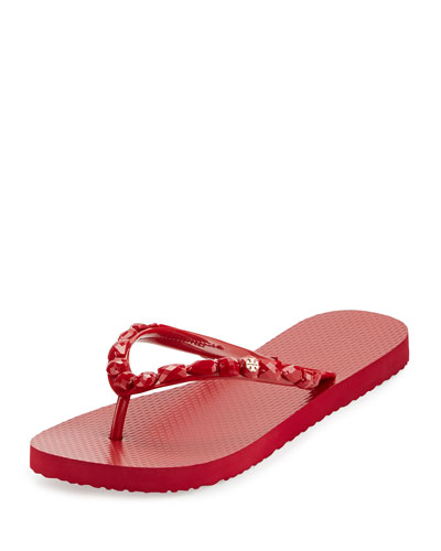 Jeweled Thong Sandal, Deep Garnet