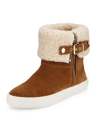 Skillman Fur-Cuff Sneaker, Caramel