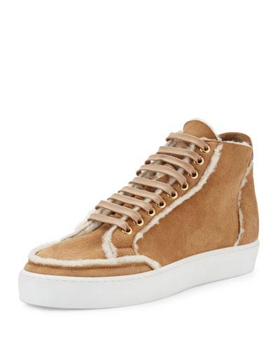 Salmond Shearling Fur High-Top Sneaker, Malt Brown