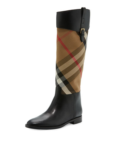 Copse House Check Rain Boot, Black
