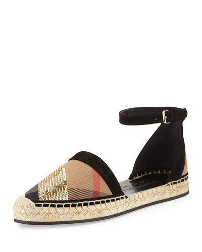 Abbingdon Sequined Check Espadrille Flat Sandal, House Check/Gold