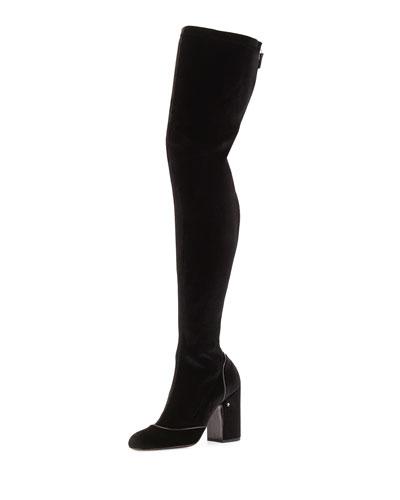 Madison Velvet Over-The-Knee Boot, Black