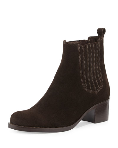Prince Low-Heel Ankle Boot, Brown