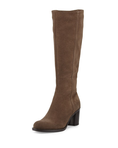 Phebe Suede Chunky-Heel Knee Boot, Stone