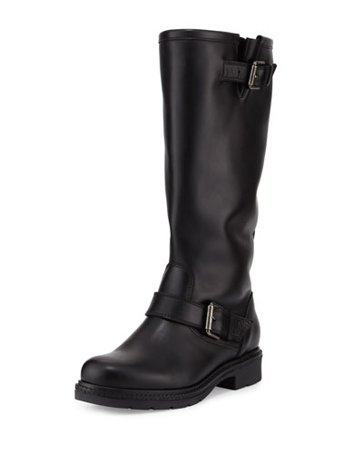 Crista Leather Buckle Knee Boot, Black