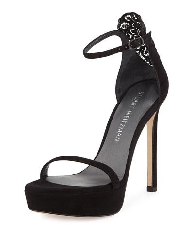 Applique Suede Platform Sandal, Black