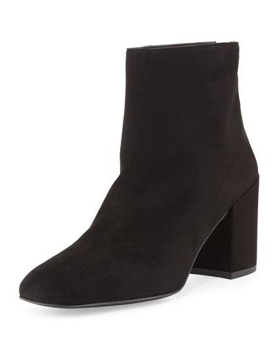 Bacari Suede Chunky-Heel Bootie, Black