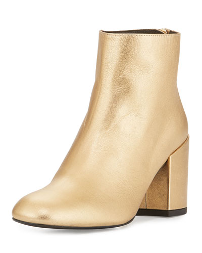 Bacari Leather Chunky-Heel Bootie, Chino