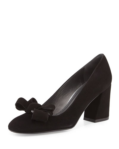Bonified Suede Bow Pump, Black
