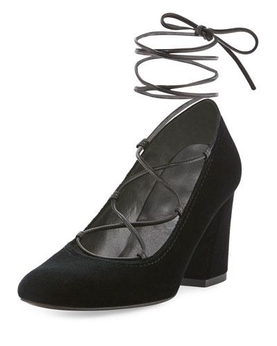 Cordonmid Velvet Lace-Up Pump, Black