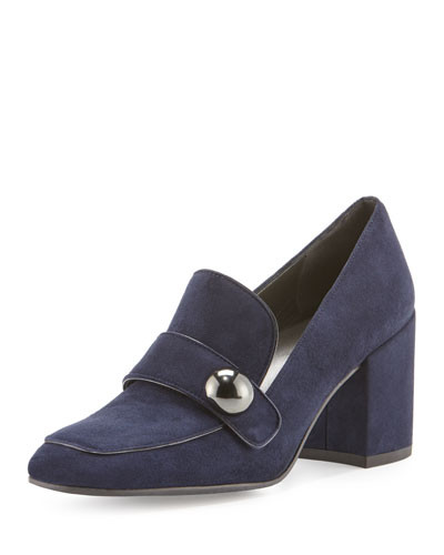Dundee Suede Loafer Pump, Nice Blue