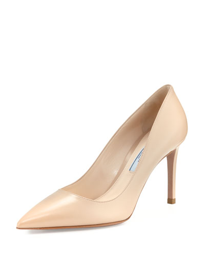 Leather Pointed-Toe 85mm Pump, Nude (Cipria)