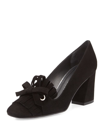 Fliptop Suede Kiltie Pump, Black