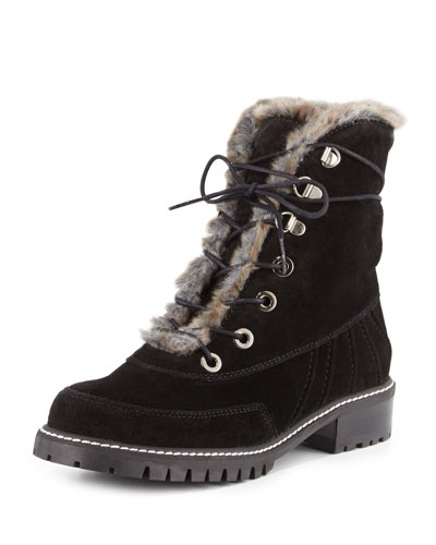 Forest Faux-Shearling Hiker Boot, Nero