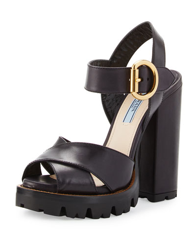 Crisscross Leather Platform Sandal, Black (Nero)