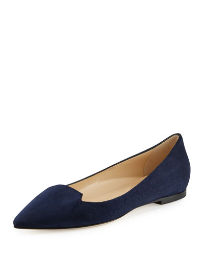Attila Suede Pointed-Toe Flat, Navy