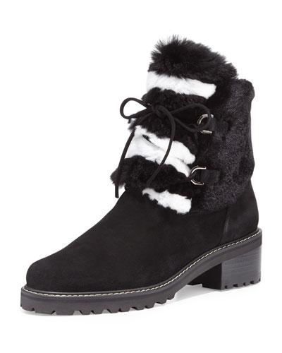 Furnace Fur-Trim Hiker Boot, Black