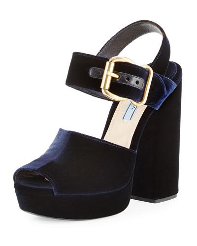 Velvet Platform Ankle-Wrap Sandal, Blue (Bleu)