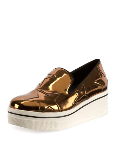 Binx Metallic Star Platform Skate Sneaker, Old Gold/Black