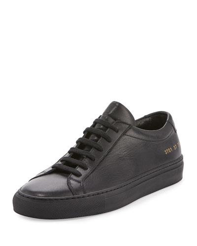 Achilles Leather Low-Top Sneaker, Black