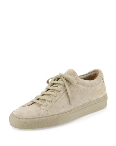 Achilles Suede Low-Top Sneaker, Taupe