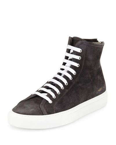 Tournament Suede High-Top Sneaker, Dark Gray